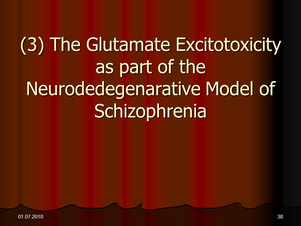 (3) The Glutamate Excitotoxicity as part of the Neurodedegenarative Model of Schizophrenia
