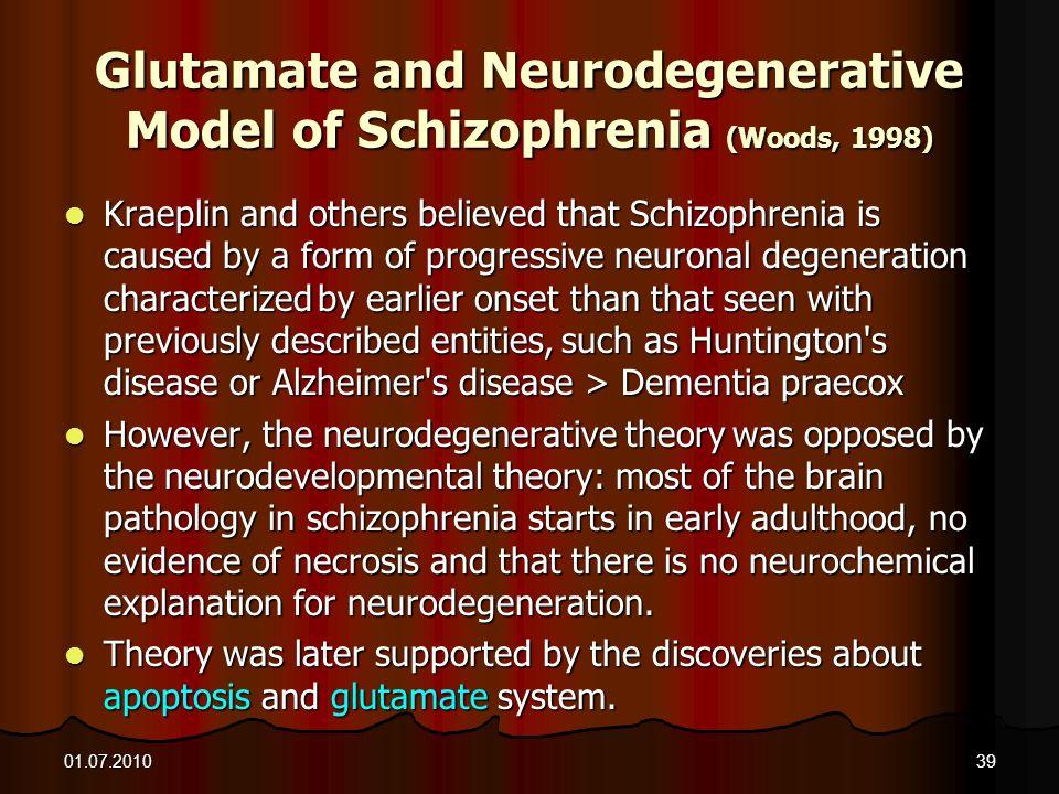 Glutamate and Neurodegenerative Model of Schizophrenia (Woods, 1998)