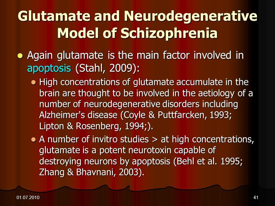 Glutamate and Neurodegenerative Model of Schizophrenia
