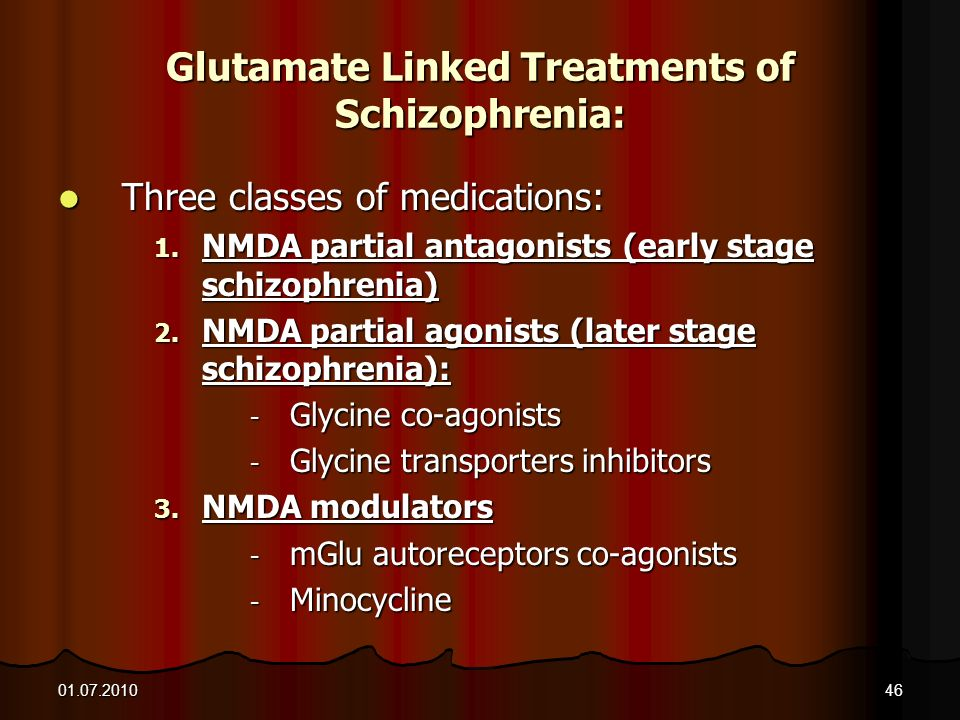 Glutamate Linked Treatments of Schizophrenia: