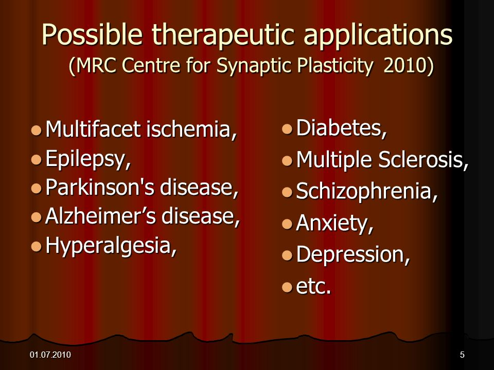 Possible therapeutic applications (MRC Centre for Synaptic Plasticity 2010)