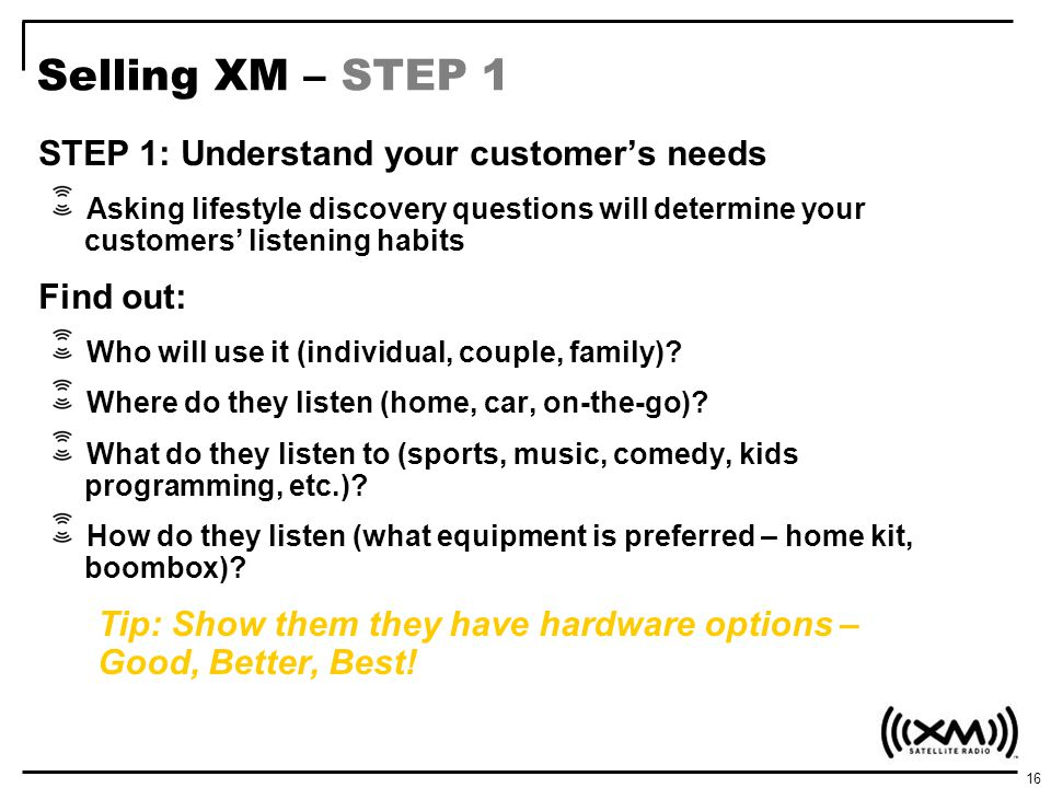 Selling XM – STEP 1 STEP 1: Understand your customer's needs Find out:
