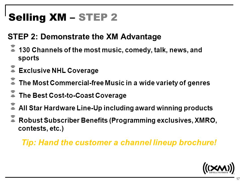 Selling XM – STEP 2 STEP 2: Demonstrate the XM Advantage