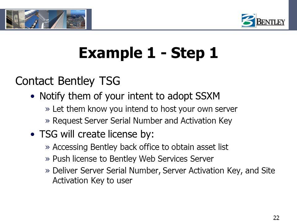 Example 1 - Step 1 Contact Bentley TSG