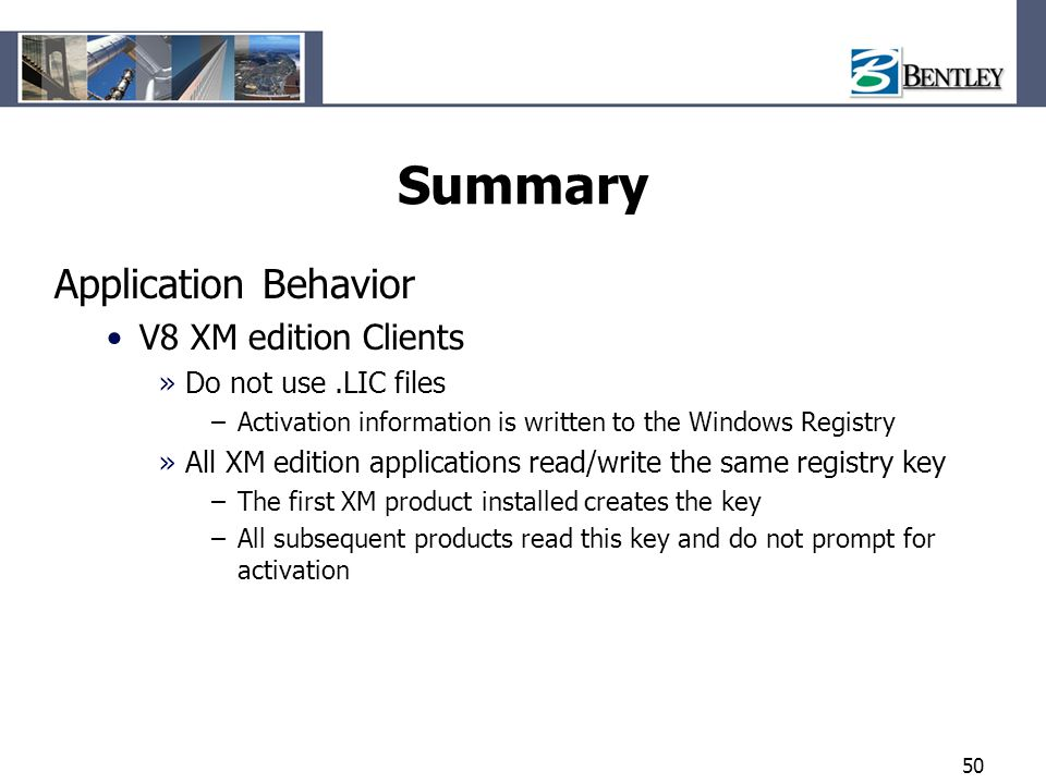 Summary Application Behavior V8 XM edition Clients