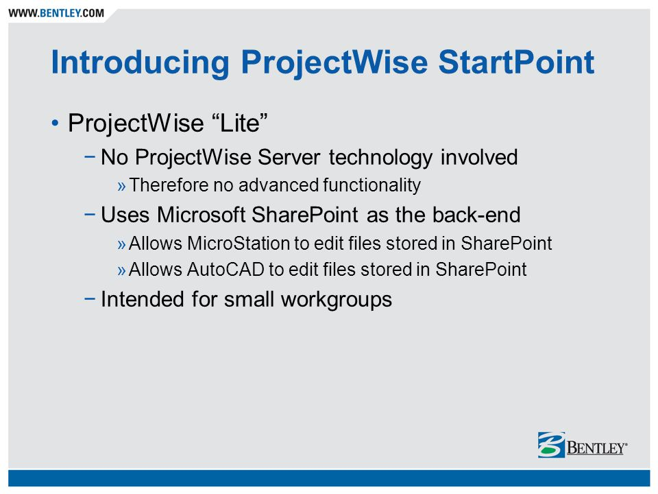 Introducing ProjectWise StartPoint