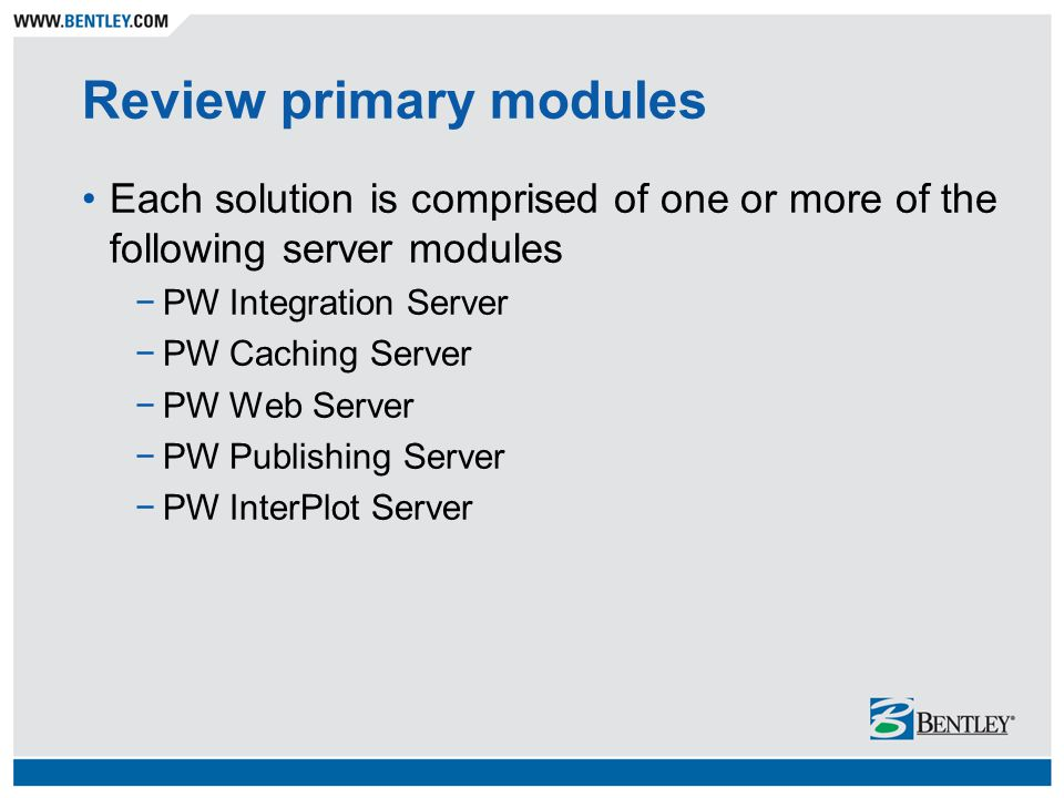 Review primary modules
