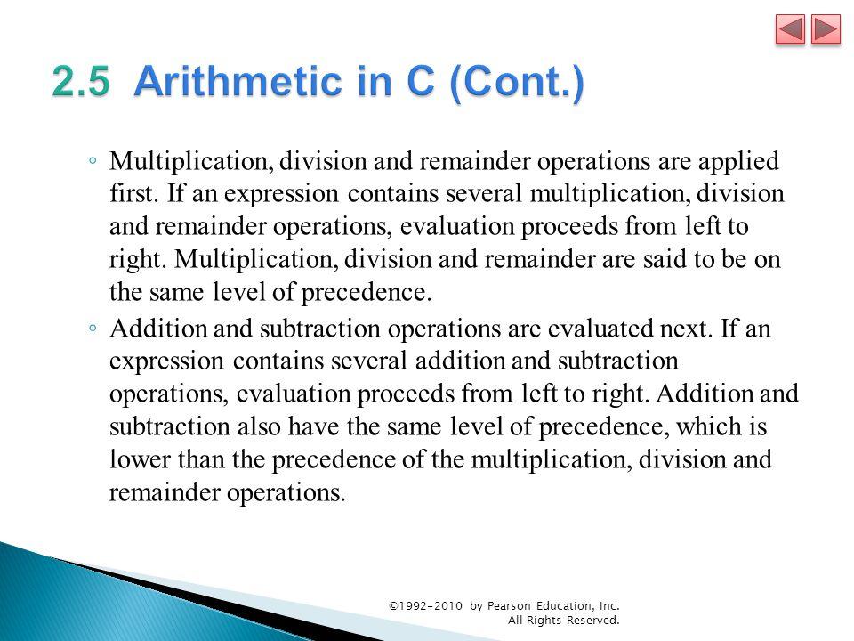 2.5 Arithmetic in C (Cont.)