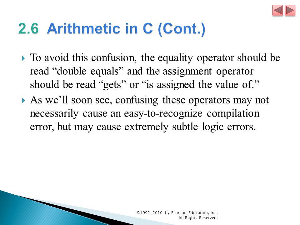 2.6 Arithmetic in C (Cont.)