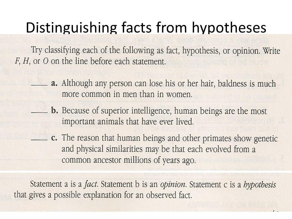 Distinguishing facts from hypotheses