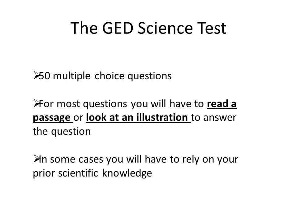 The GED Science Test 50 multiple choice questions