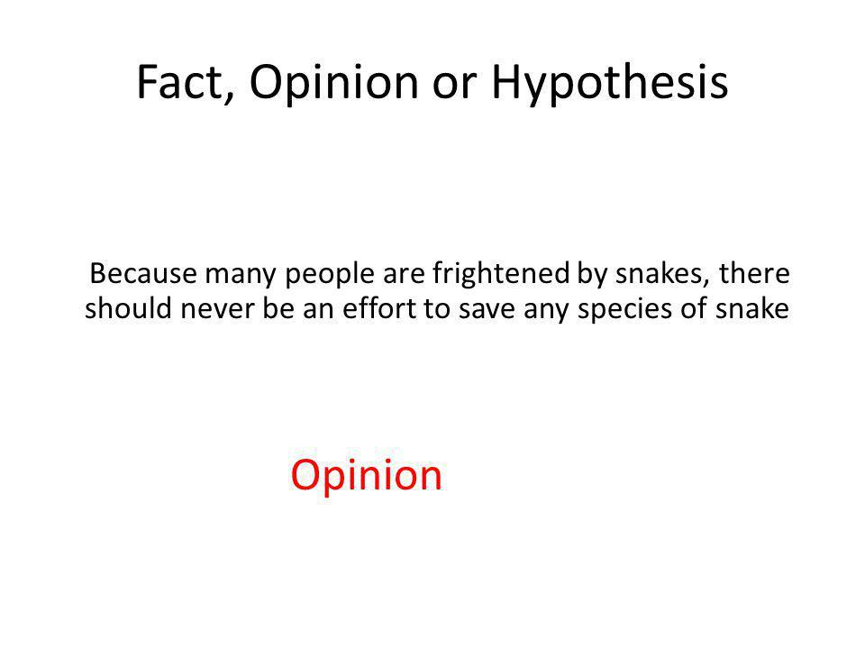 Fact, Opinion or Hypothesis