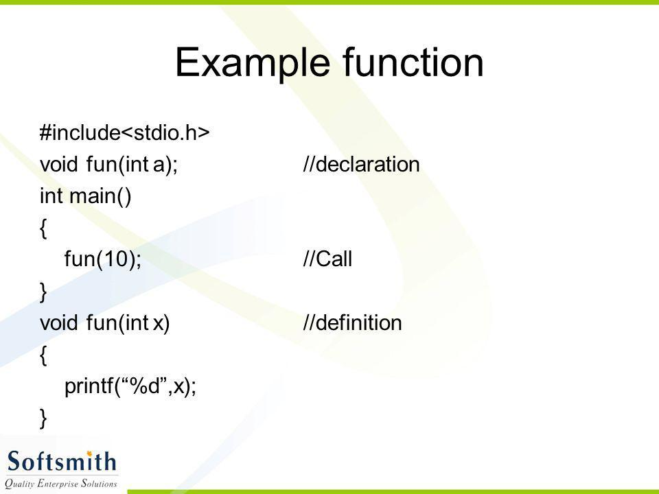 Example function #include<stdio.h>