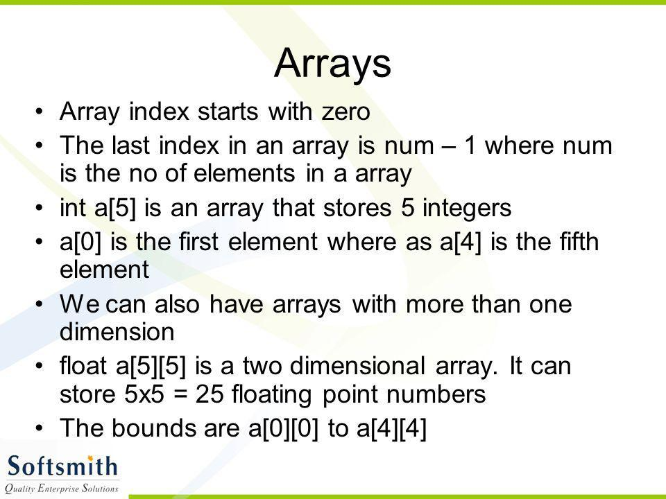 Arrays Array index starts with zero