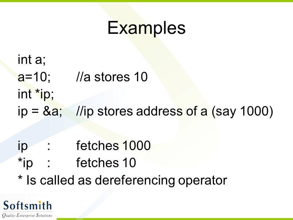 Examples int a; a=10; //a stores 10 int *ip;