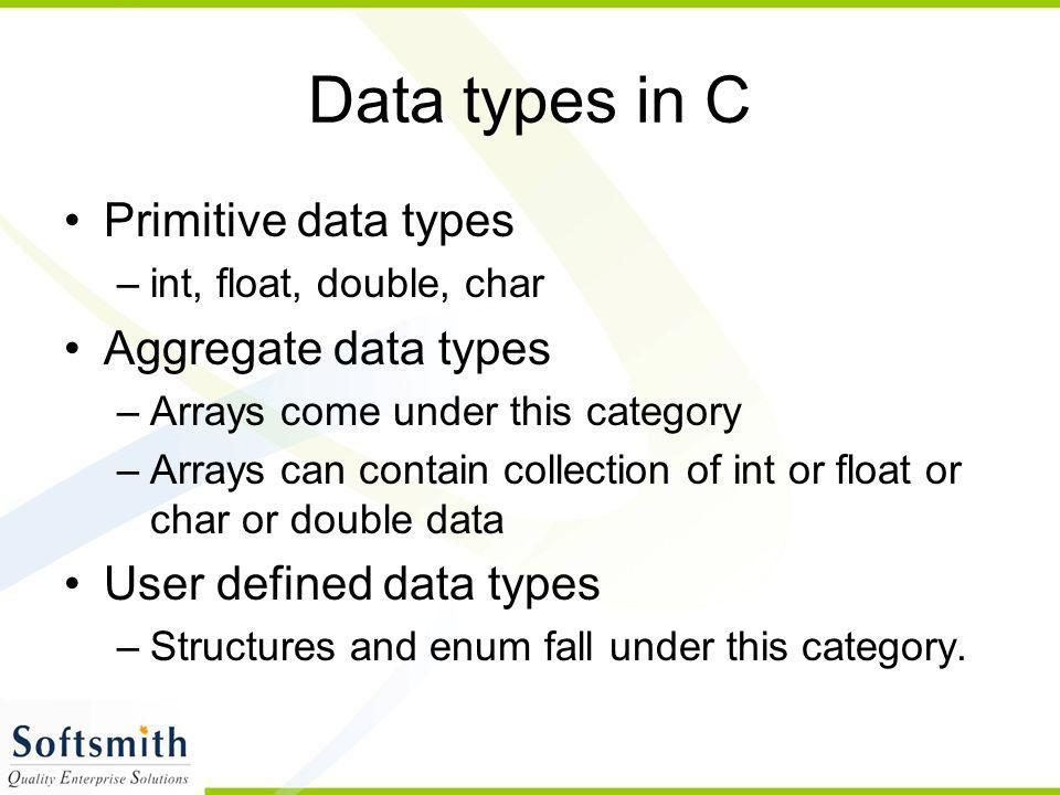 Data types in C Primitive data types Aggregate data types