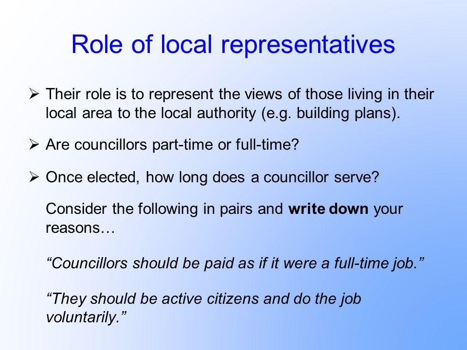 Role of local representatives