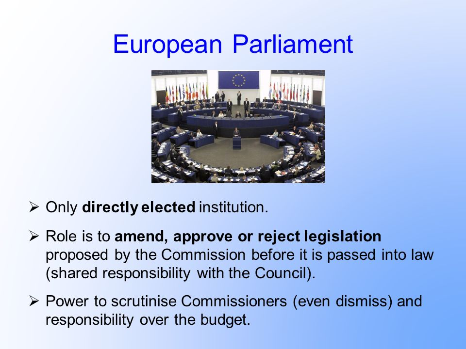 European Parliament Only directly elected institution.