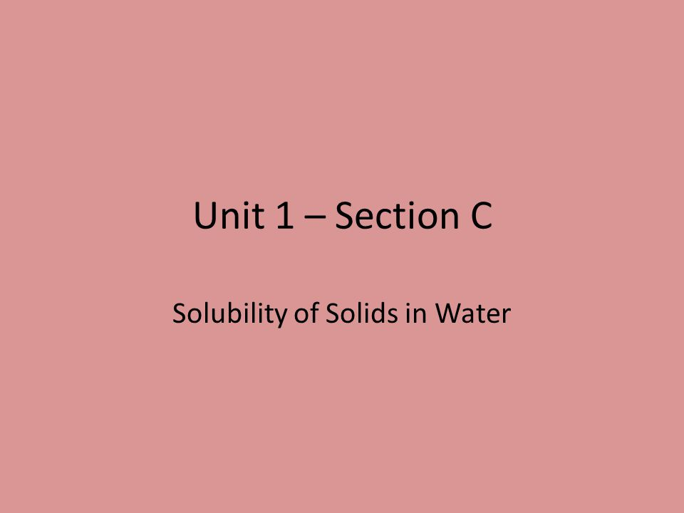 Solubility of Solids in Water