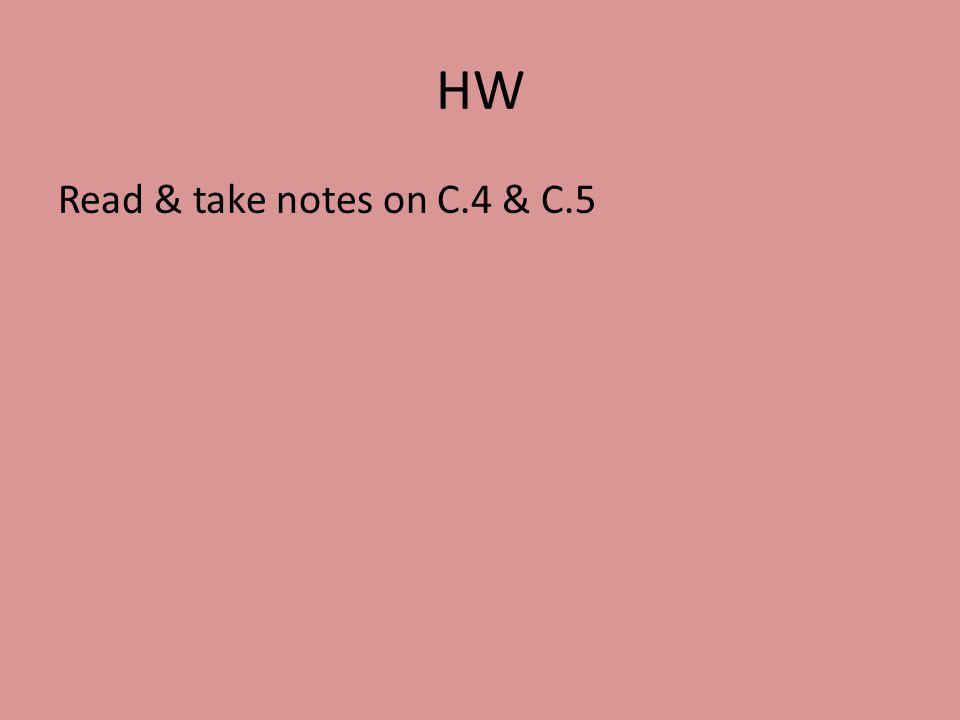HW Read & take notes on C.4 & C.5