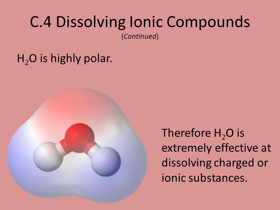 C.4 Dissolving Ionic Compounds (Continued)
