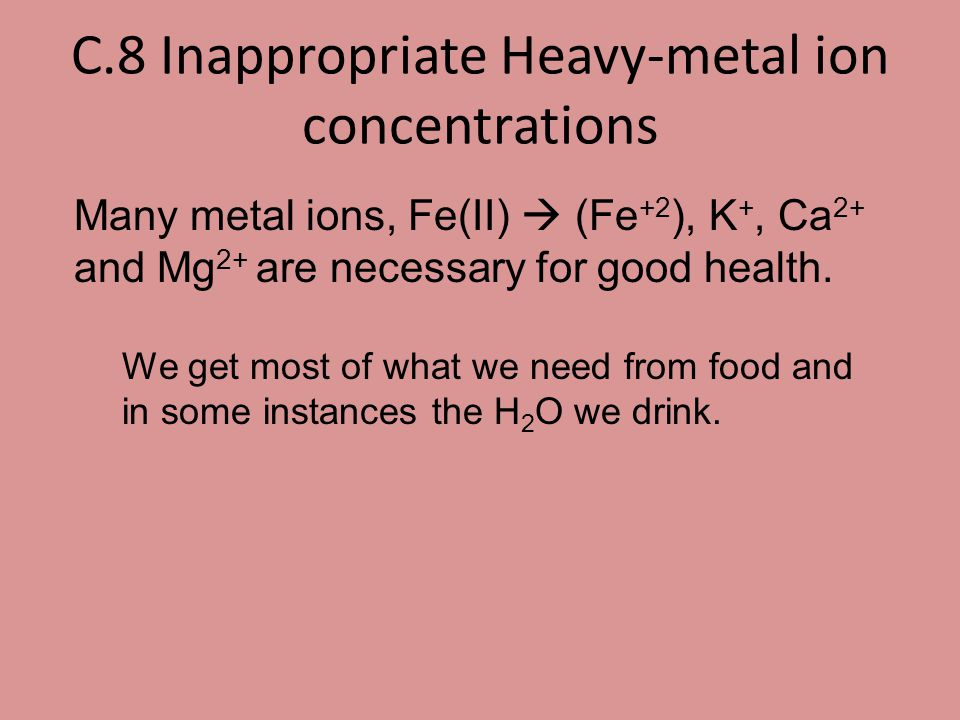 C.8 Inappropriate Heavy-metal ion concentrations