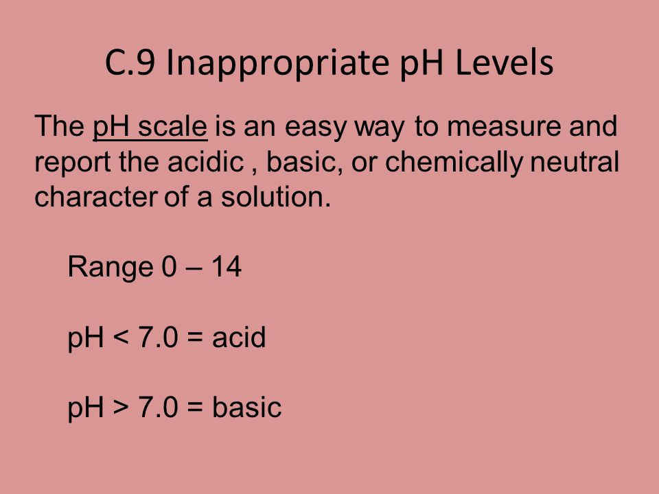 C.9 Inappropriate pH Levels