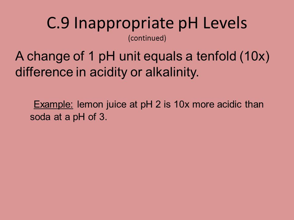 C.9 Inappropriate pH Levels (continued)
