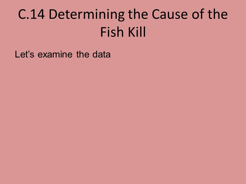 C.14 Determining the Cause of the Fish Kill