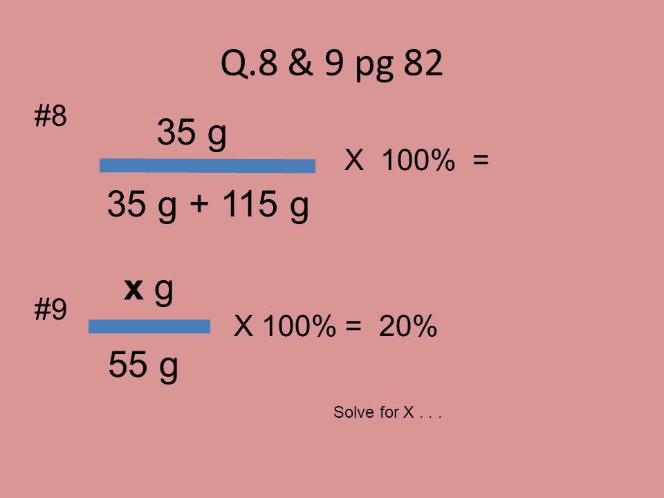 Q.8 & 9 pg 82 35 g 35 g + 115 g x g 55 g #8 X 100% = #9 X 100% = 20%