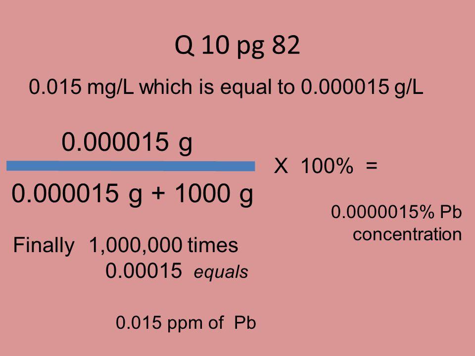 Q 10 pg 82 0.015 mg/L which is equal to 0.000015 g/L. 0.000015 g. 0.000015 g + 1000 g. X 100% =