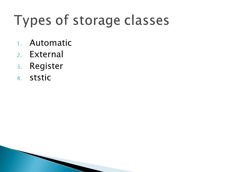 Types of storage classes