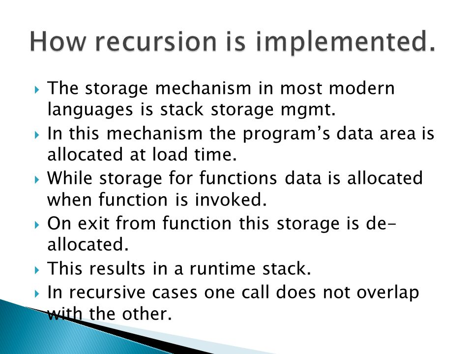 How recursion is implemented.