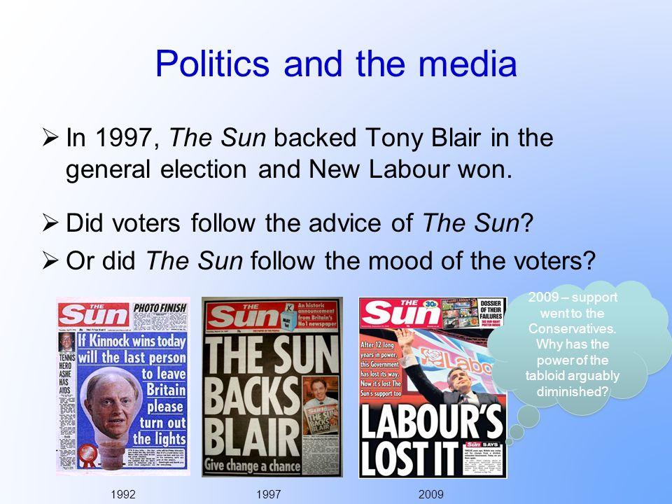 Politics and the media In 1997, The Sun backed Tony Blair in the general election and New Labour won.