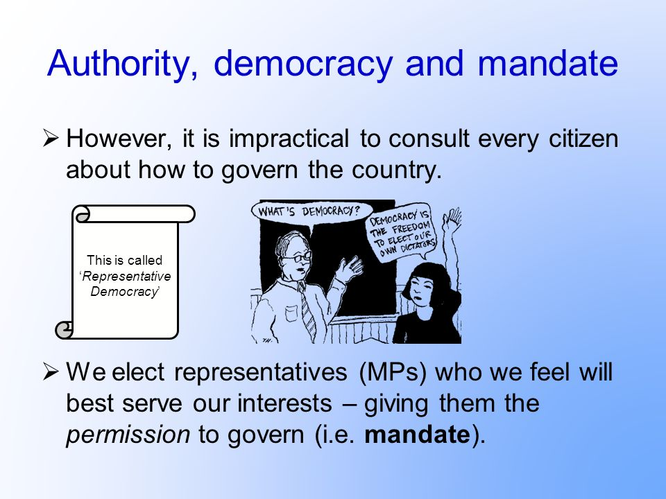 Authority, democracy and mandate