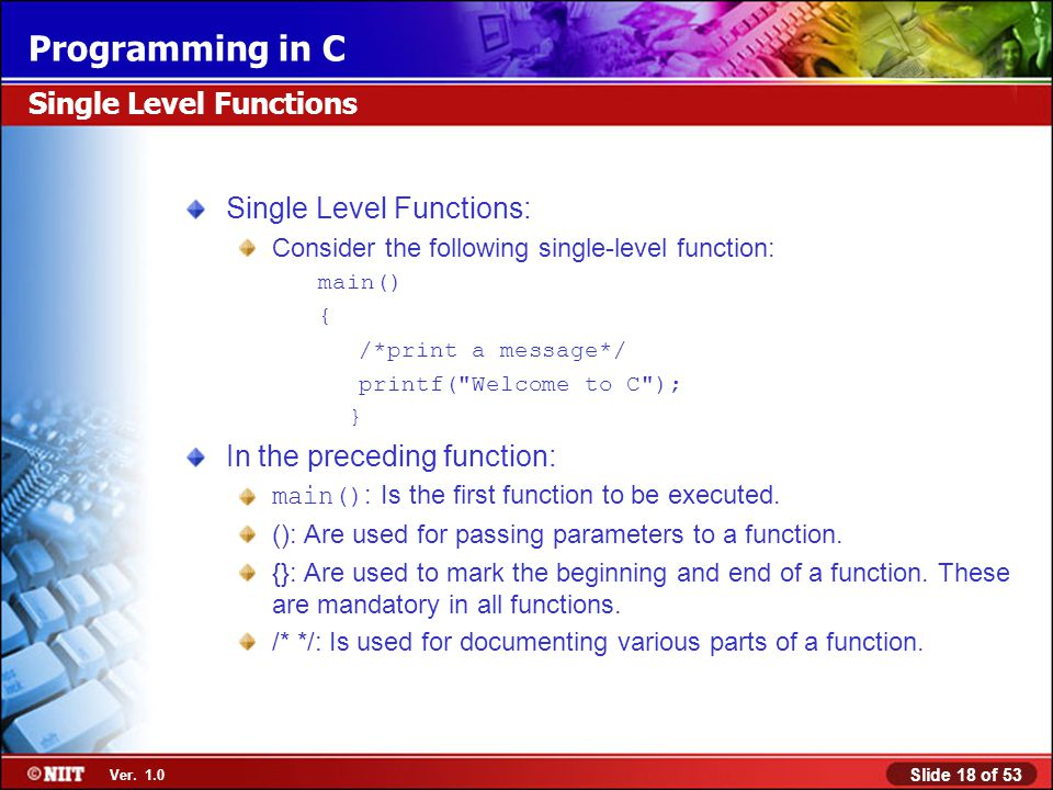 Single Level Functions