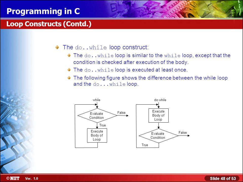 Loop Constructs (Contd.)