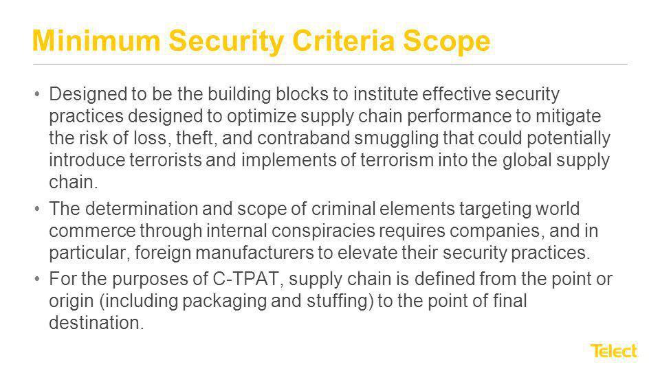 Minimum Security Criteria Scope