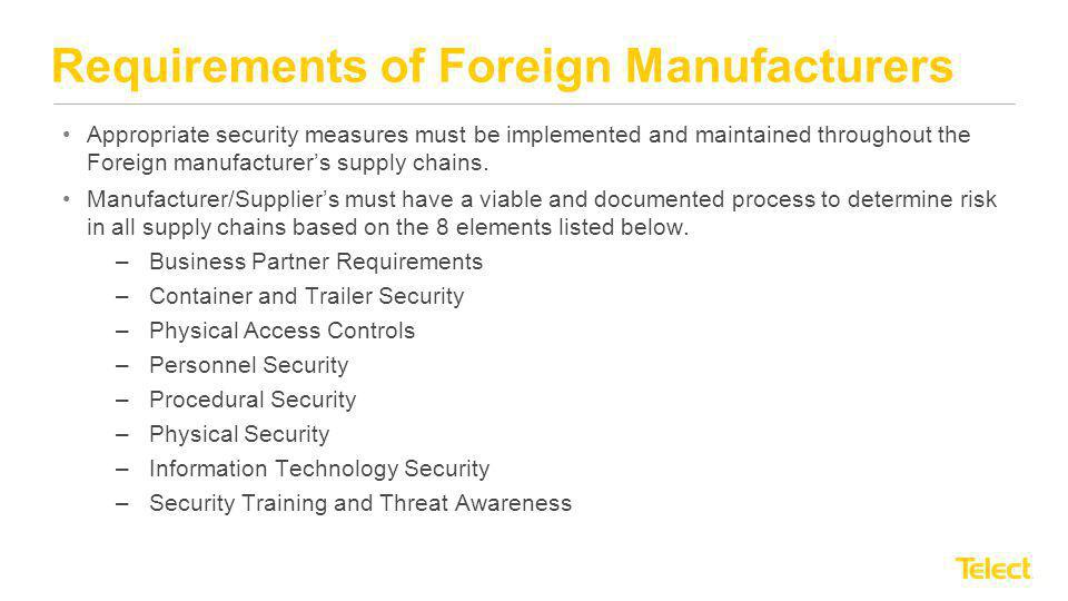 Requirements of Foreign Manufacturers