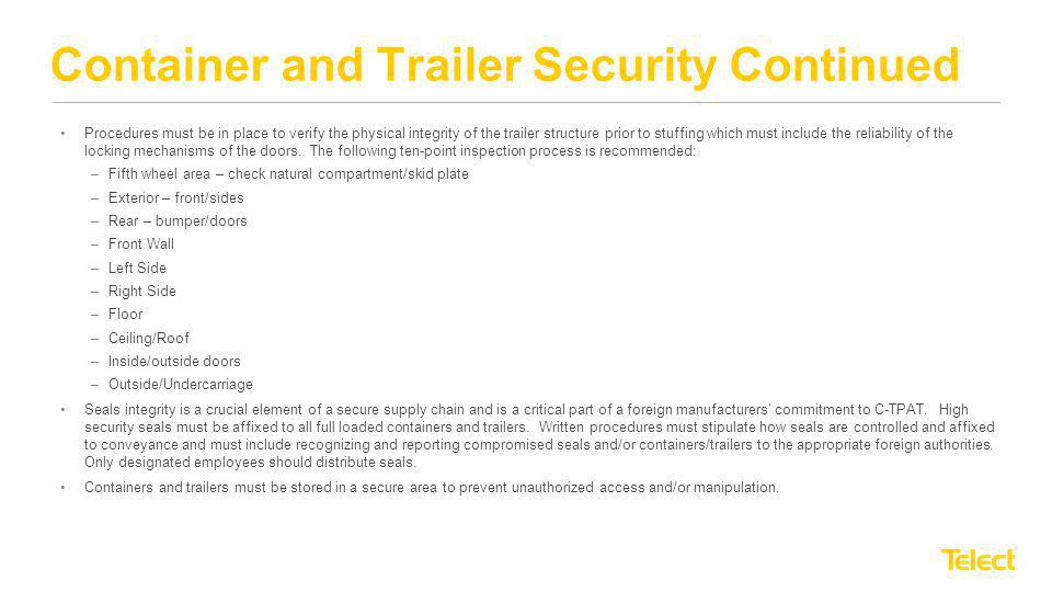 Container and Trailer Security Continued