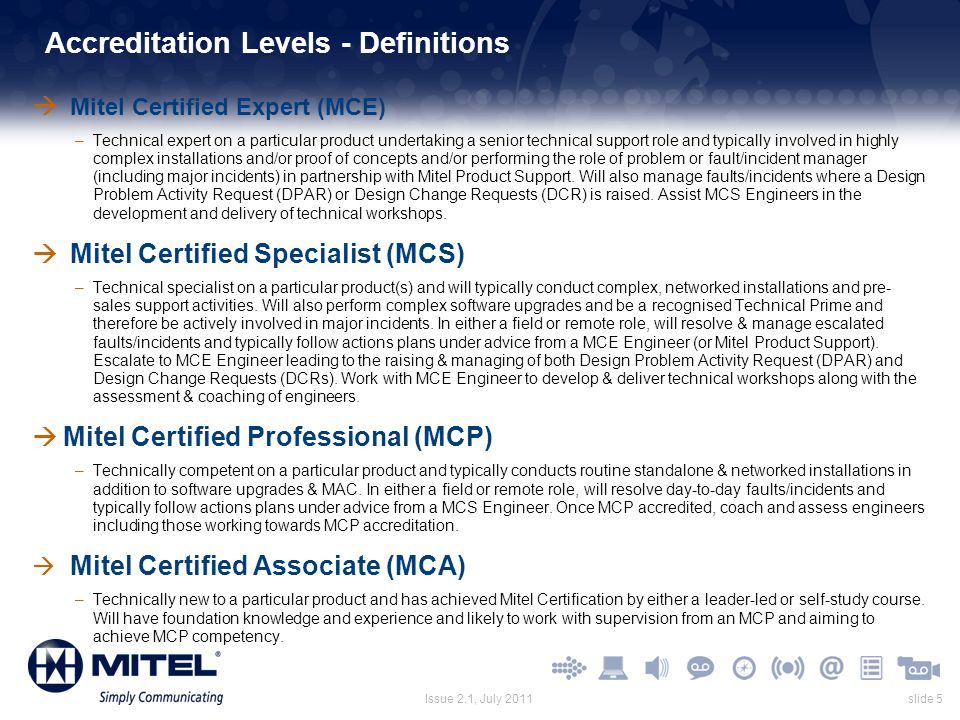 Accreditation Levels - Definitions