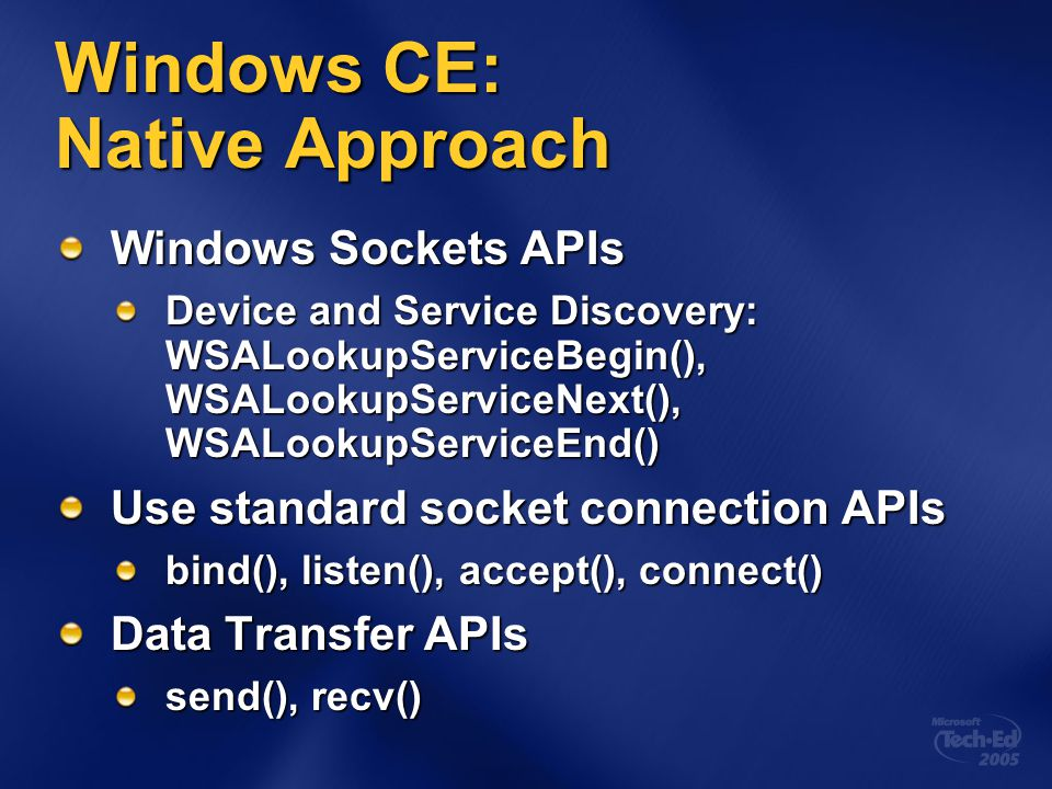 Windows CE: Native Approach