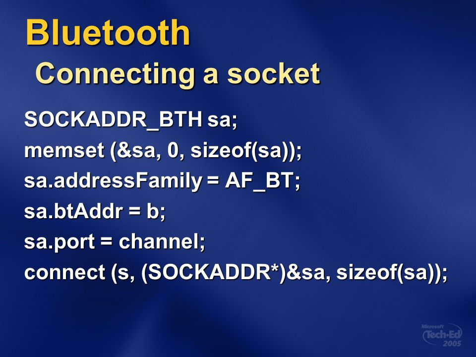 Bluetooth Connecting a socket