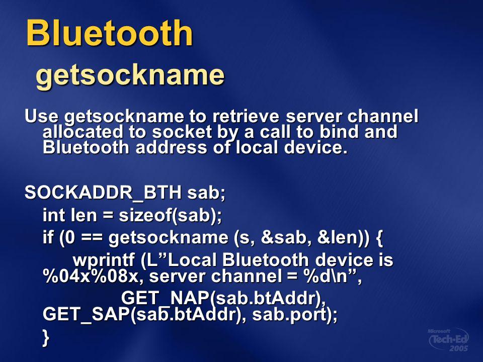 Bluetooth getsockname