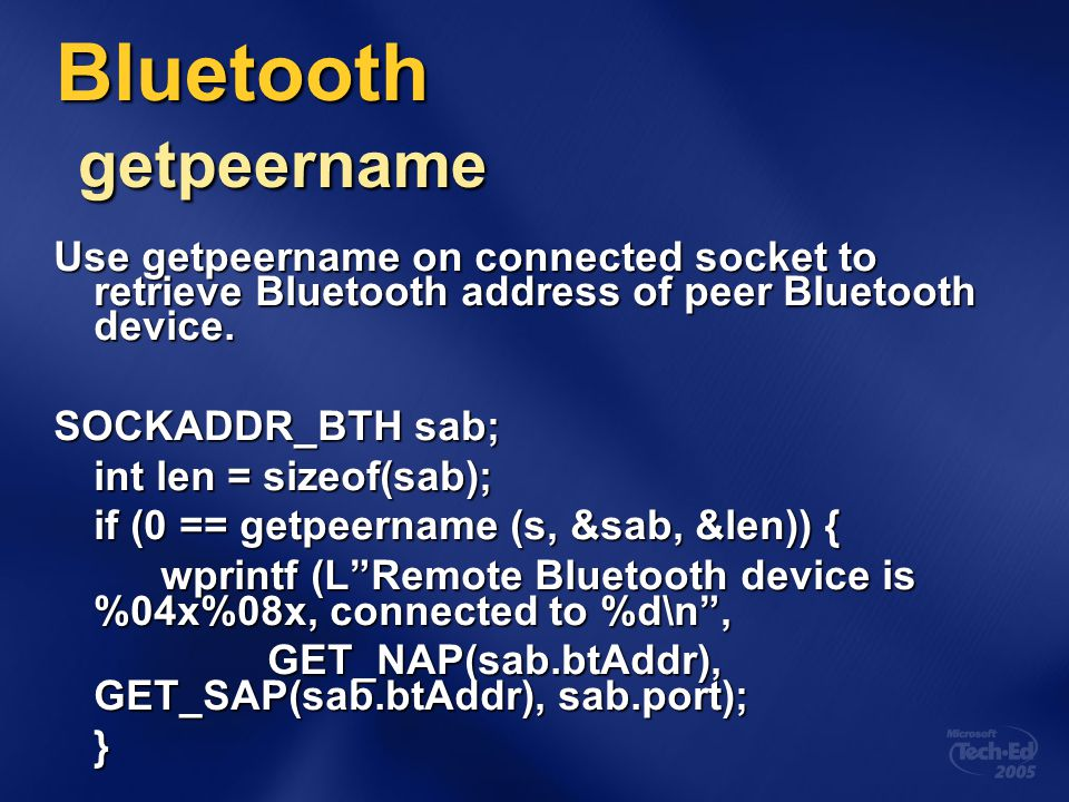 Bluetooth getpeername