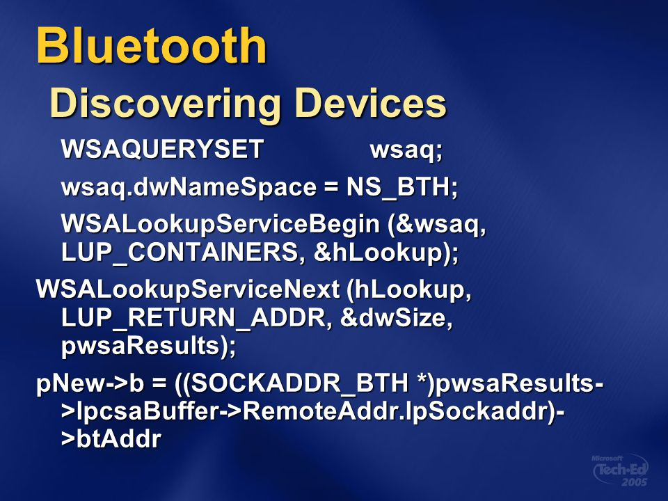 Bluetooth Discovering Devices