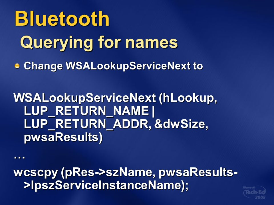 Bluetooth Querying for names