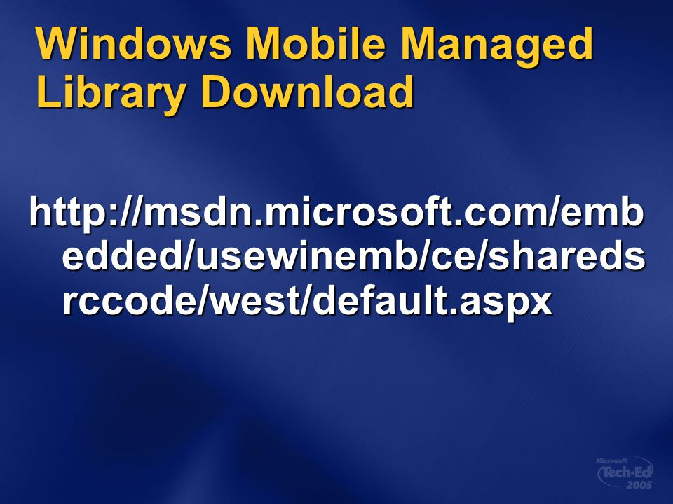 Windows Mobile Managed Library Download