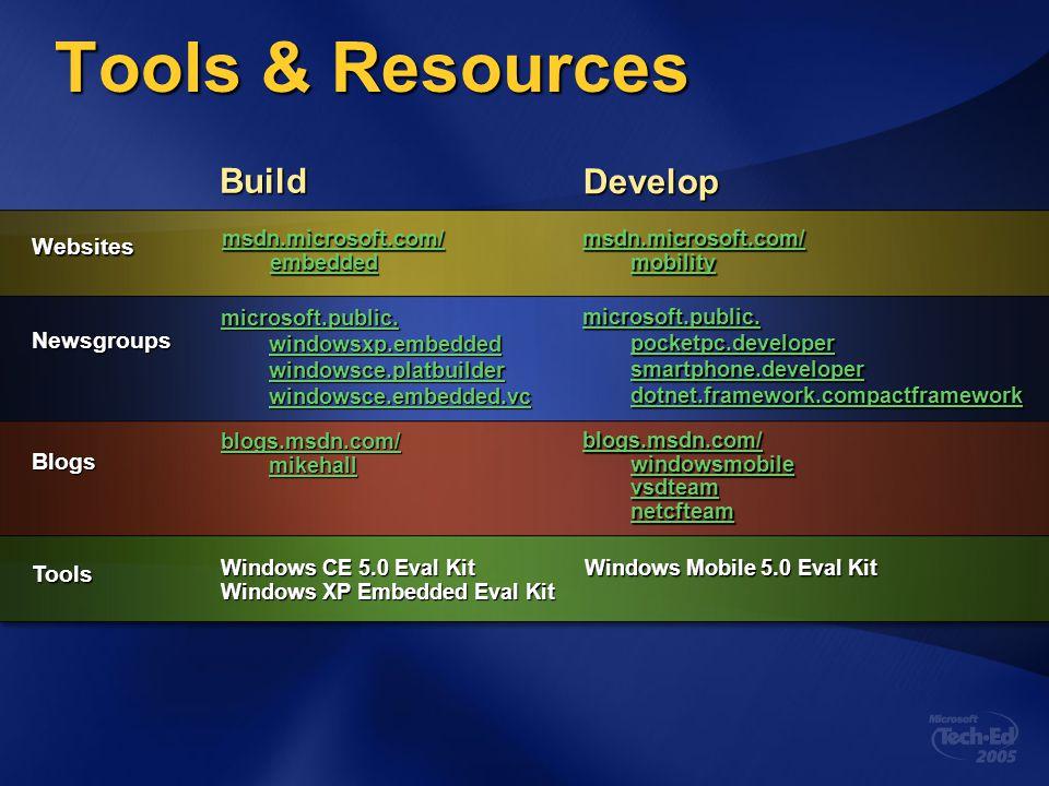 Tools & Resources Build Develop Websites Newsgroups Blogs Tools