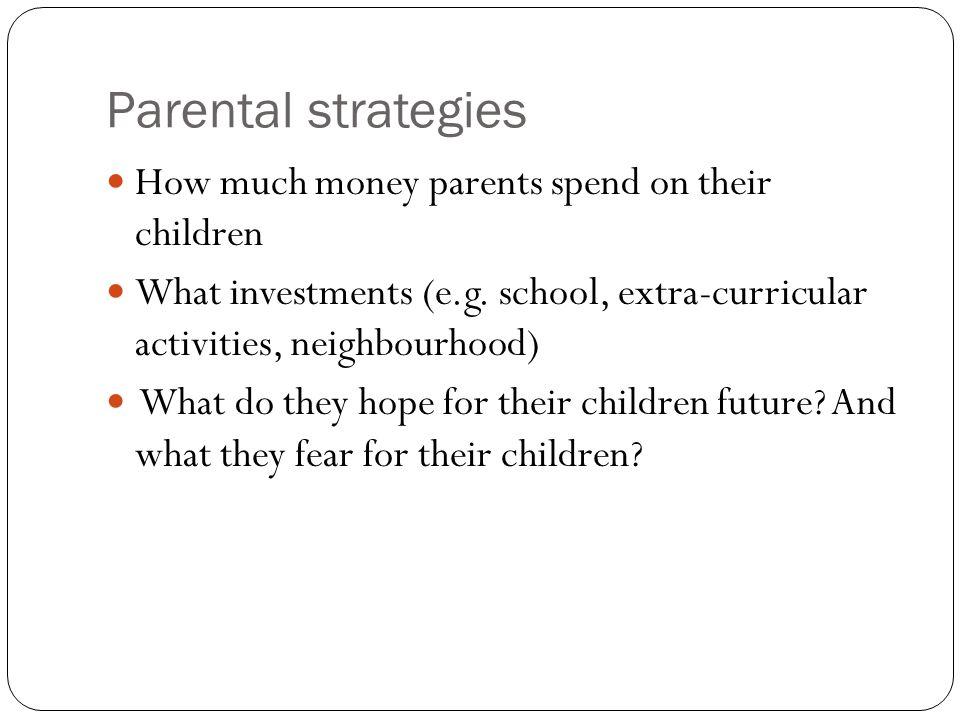 Parental strategies How much money parents spend on their children